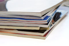 Magazines. A stack of open magazines Stock Photos
