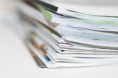 Magazines. Newspaper reading news entertainment edition correspondence publication press pile Royalty Free Stock Photo