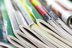Magazines. Stack of magazines brightly lit Royalty Free Stock Image