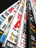 Magazines. Pile of magazines on a wooden background Stock Photo