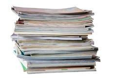 Magazines. Pile of magazines isolated on white Royalty Free Stock Photo