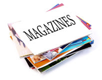 Magazines. A pile of magazines on white background Royalty Free Stock Photos