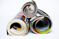 Magazines. On the white isolated Stock Photography