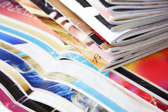 Magazines. A stack of magazines - close - up Royalty Free Stock Photography
