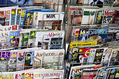 Magazines. Athens, Greece - December 07, 2014 Stack of magazines for women on a newsstand at Athens Omonoia Square, Numero L'oficiell Marie claire Vogue Elle Royalty Free Stock Image