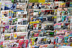 Magazines. Athens, Greece - December 07, 2014 Stack of magazines for women on a newsstand at Athens Omonoia Square, Numero L'oficiell Marie claire Vogue Elle Royalty Free Stock Photography