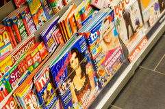 Magazines in book store Royalty Free Stock Image