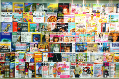 Magazines on display. In a store in Toronto, Ontario, Canada