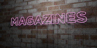 MAGAZINES - Glowing Neon Sign on stonework wall - 3D rendered royalty free stock illustration Royalty Free Stock Photo