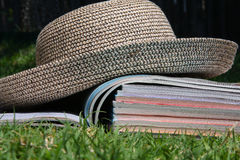 Magazines outside. A stack of magazine for reading outside Stock Photo