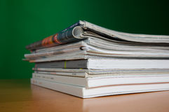 Magazines and research Stock Image