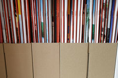 Magazines in storage boxes Royalty Free Stock Image