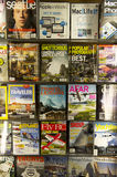 Magazines for travel in store Royalty Free Stock Image