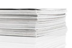 Magazines up close shot on white background royalty free stock image