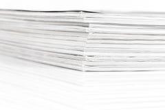 Magazines up close shot. On white background royalty free stock photography