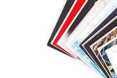 Magazines up close shot on white background Royalty Free Stock Images