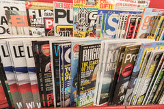 Magazines. Very high resolution, 42.2 megapixels. Various magazines around the world. Photo taken on: February 10, 2016 stock photography