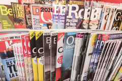 Magazines. Very high resolution, 42.2 megapixels. Various magazines around the world. Photo taken on: February 10, 2016 stock photos