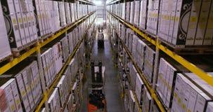 Magazyn w fabryce, forklifts w magazynowej fabryce wn?trze przemys?owe zbiory wideo