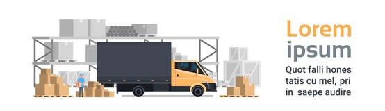 Magazynowa dostawa, Ciężarowy samochód Nad zbiorników Budować Wysyłki I transportu pojęcia Horyzontalny sztandar Z kopią ilustracja wektor