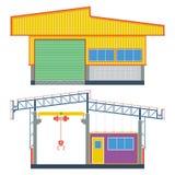 Magazynowy budynek, przewieziona fabryka, wektorowa ilustracja ilustracji