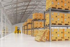 Magazynowy logistyk, pakunku transportu, dostawy i ładowania pojęcie, Fotografia Royalty Free