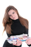 magazyny brunetki gospodarstwa Obraz Stock