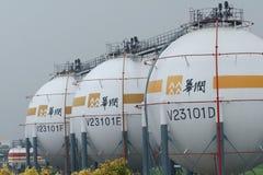 Magazzino del gas naturale Fotografia Stock Libera da Diritti