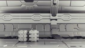 Magazzino di fantascienza in cui i contenitori sono immagazzinati Laboratorio su un'astronave 3d rendono immagine stock libera da diritti