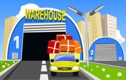 Magazzino e camion di consegna illustrazione vettoriale