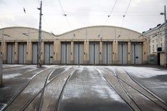Magazzino esterno del tram Fotografia Stock