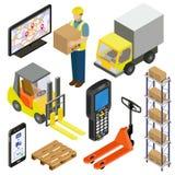 Magazzino, logistica, consegna Isometry illustrazione di stock
