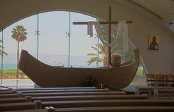 Magdala Chapel with boat and Sea of Galilee, Israel Royalty Free Stock Photos