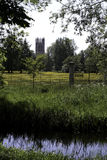 Magdalen College Oxford and Meadow Royalty Free Stock Images