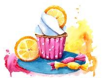 Magdalena de la acuarela con el relleno, la naranja y los dulces Aislado F?cil de utilizar para el diverso dise?o del men?, anunc libre illustration