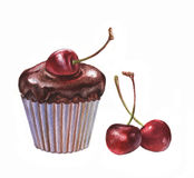 Magdalena del chocolate con la bifurcación imagenes de archivo