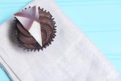 Magdalena del chocolate con la bifurcación Fotos de archivo