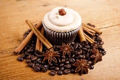 Magdalena del chocolate, granos de café, canela, anís de estrella en el despido Fotos de archivo libres de regalías