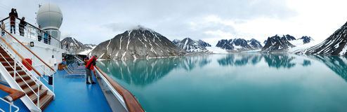 Magdalena Fjord cruise ship panorama royalty free stock images