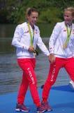 Magdalena Fularczyk-Kozlowska and Natalia Madaj of Poland. Women's Double Sculls gold medalist Magdalena Fularczyk-Kozlowska and Natalia Madaj of Poland at Lagoa Royalty Free Stock Images
