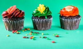 Magdalenas aisladas del chocolate con el fondo verde Imagen de archivo