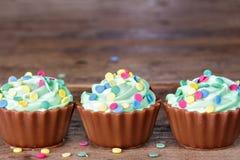 Magdalenas coloridas del chocolate Imagenes de archivo