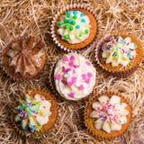 Magdalenas coloridas dulces con crema de la mantequilla en fondo del heno Fotos de archivo libres de regalías