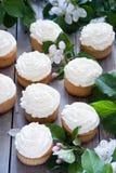 Magdalenas con crema de la mantequilla y flores blancas de la primavera Foto de archivo