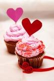 Magdalenas de la tarjeta del día de San Valentín Foto de archivo