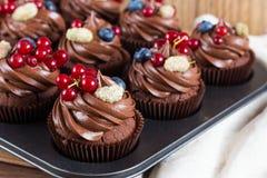 Magdalenas del chocolate adornadas con crema del chocolate y azufaifas del verano Imágenes de archivo libres de regalías