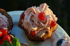 Magdalenas del chocolate con crema y bayas Fotos de archivo libres de regalías