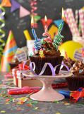 Magdalenas del chocolate para el cumpleaños Foto de archivo libre de regalías