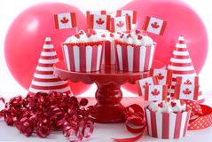 Magdalenas felices del partido del día de Canadá Fotografía de archivo libre de regalías
