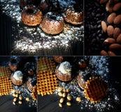 Magdalenas frescas enormes del chocolate con la crema azotada asperjada con el azúcar en polvo, endecha contra la madera oscura B Fotos de archivo libres de regalías